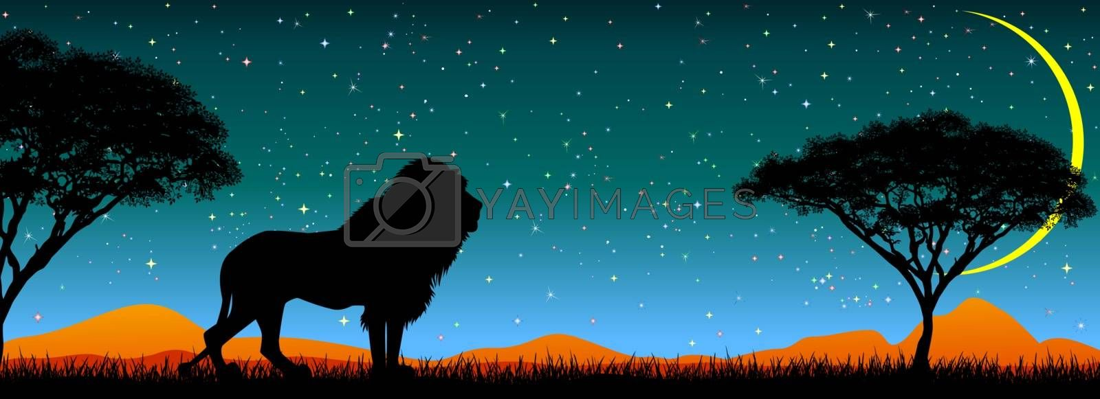 Silhouette of an African lion on a background of starry sky and trees. The night, the moon. African wild landscape. Wildlife of Africa.
