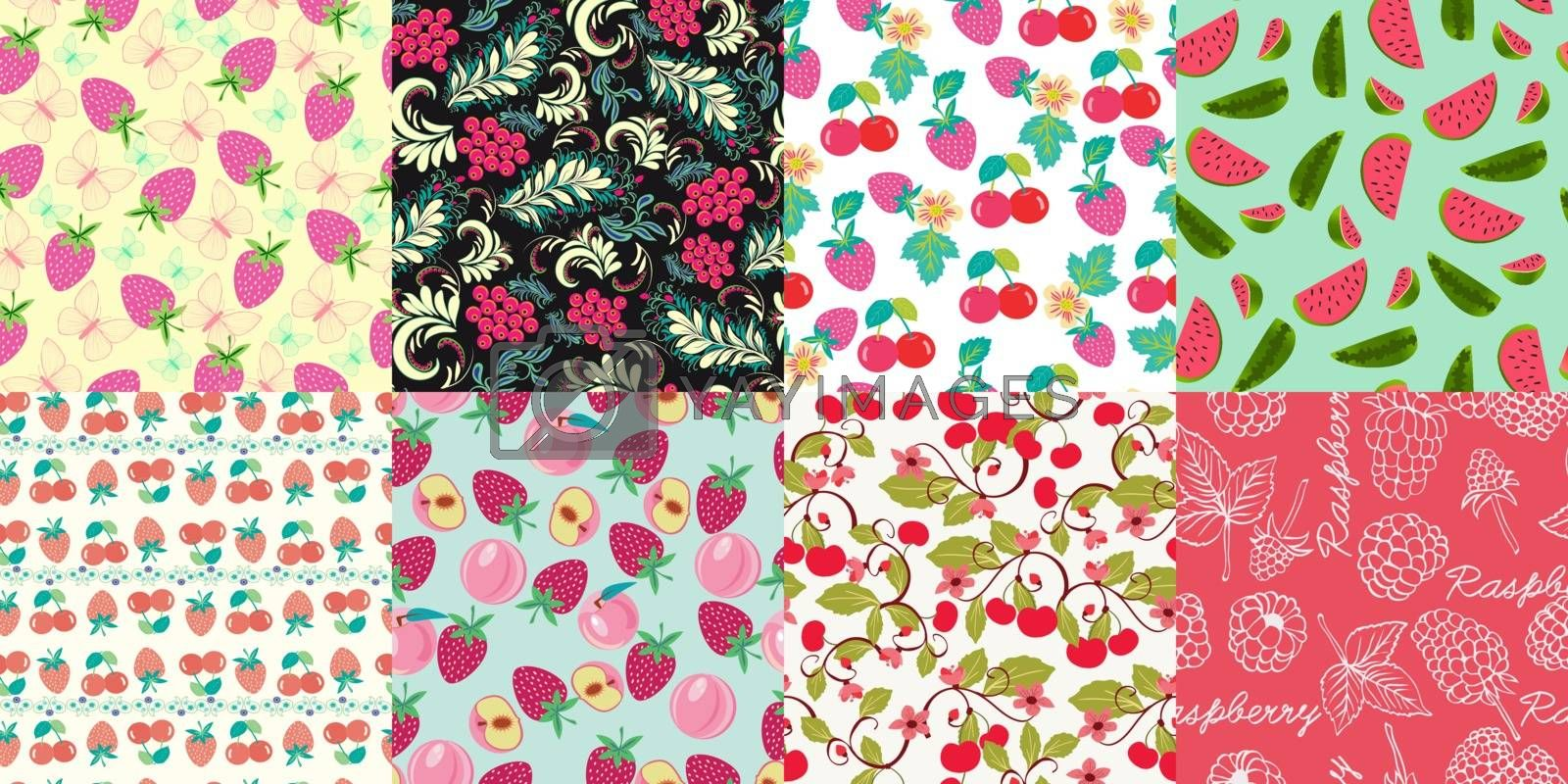 Vector hand drawn set of seamless pattern with  berries. Floral graphic design botany texture. Perfect for wrappaper, wallpaper, background, package, home textile.