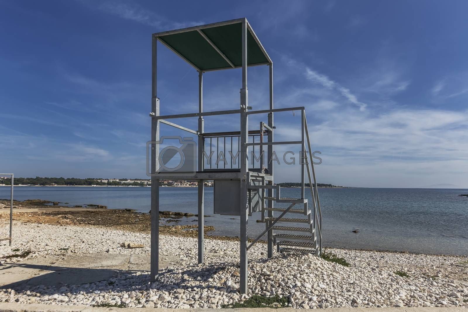 empty watching tower on the sea shore