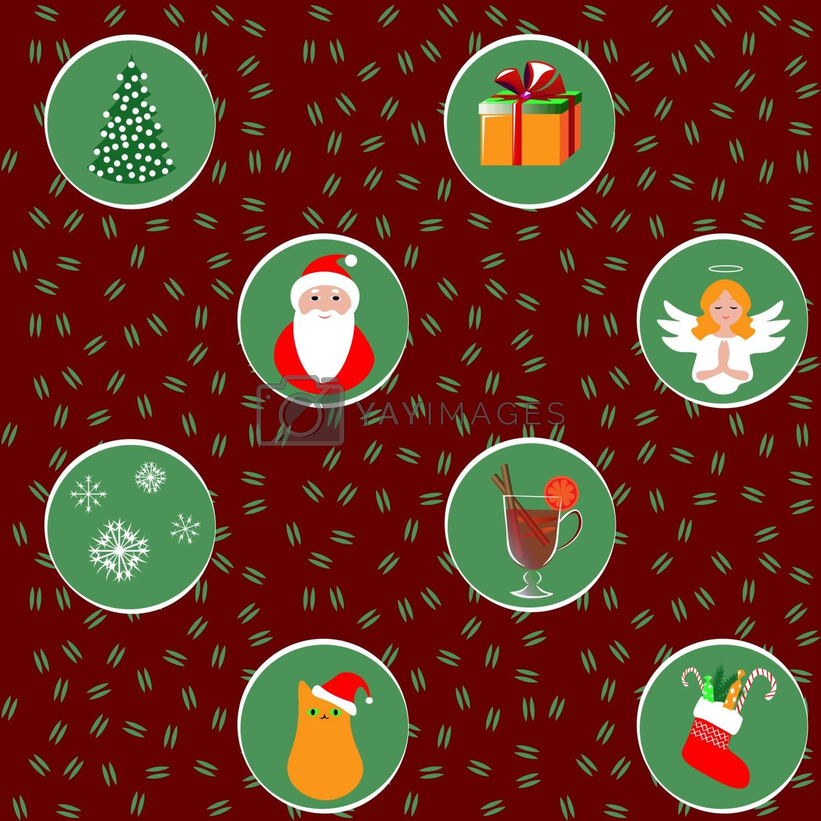 Seamless background, cute christmas pattern: christmas tree, santa claus, gift box, an angel, snowflakes, cat in the hat, mulled wine, christmas sock.