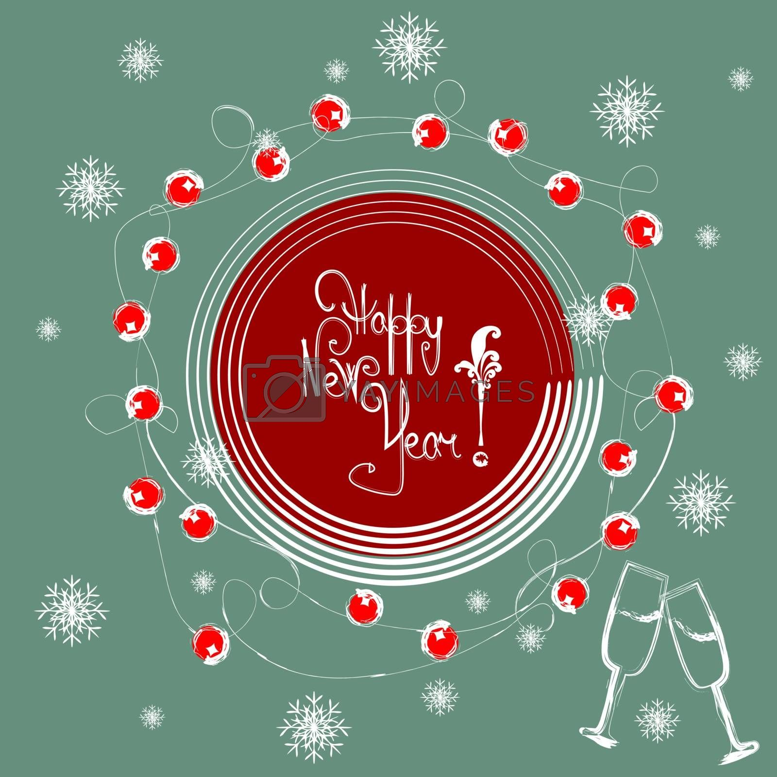 Drawing text `Happy New Year!` in red circle on turquoise background with flying snowflakes and champagne glasses