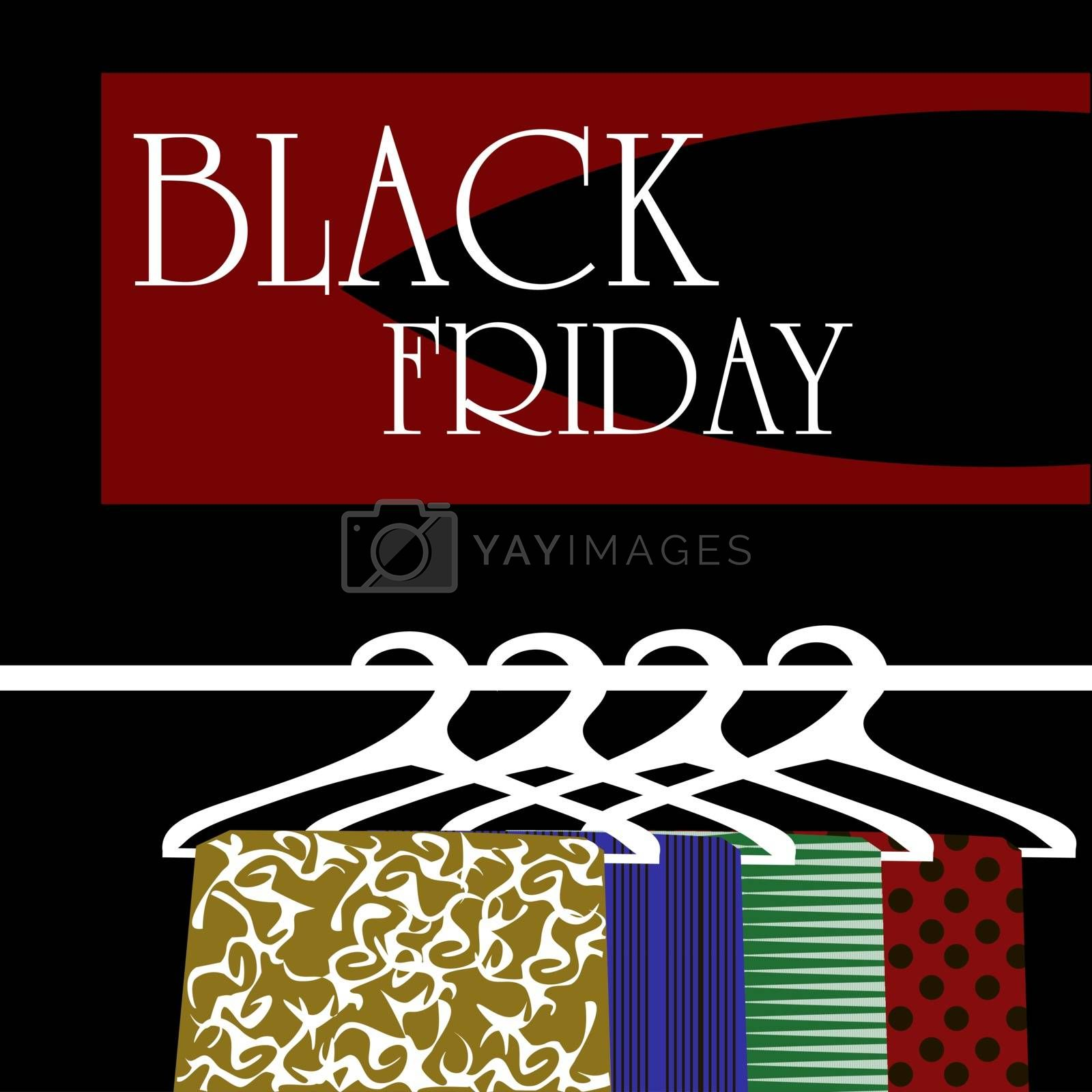 Black friday illustration with four clothes hangers on dark background
