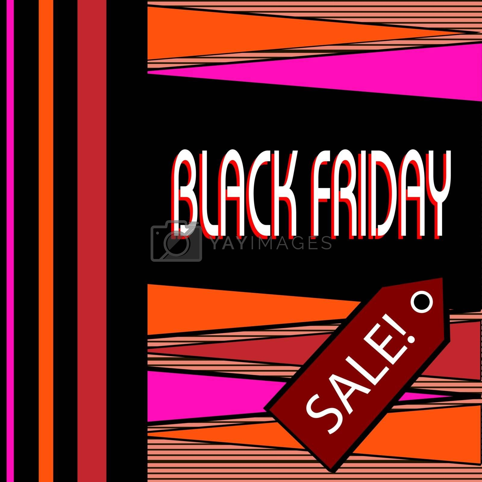 Retro black friday flyer design in pink and orange colors with red price tag