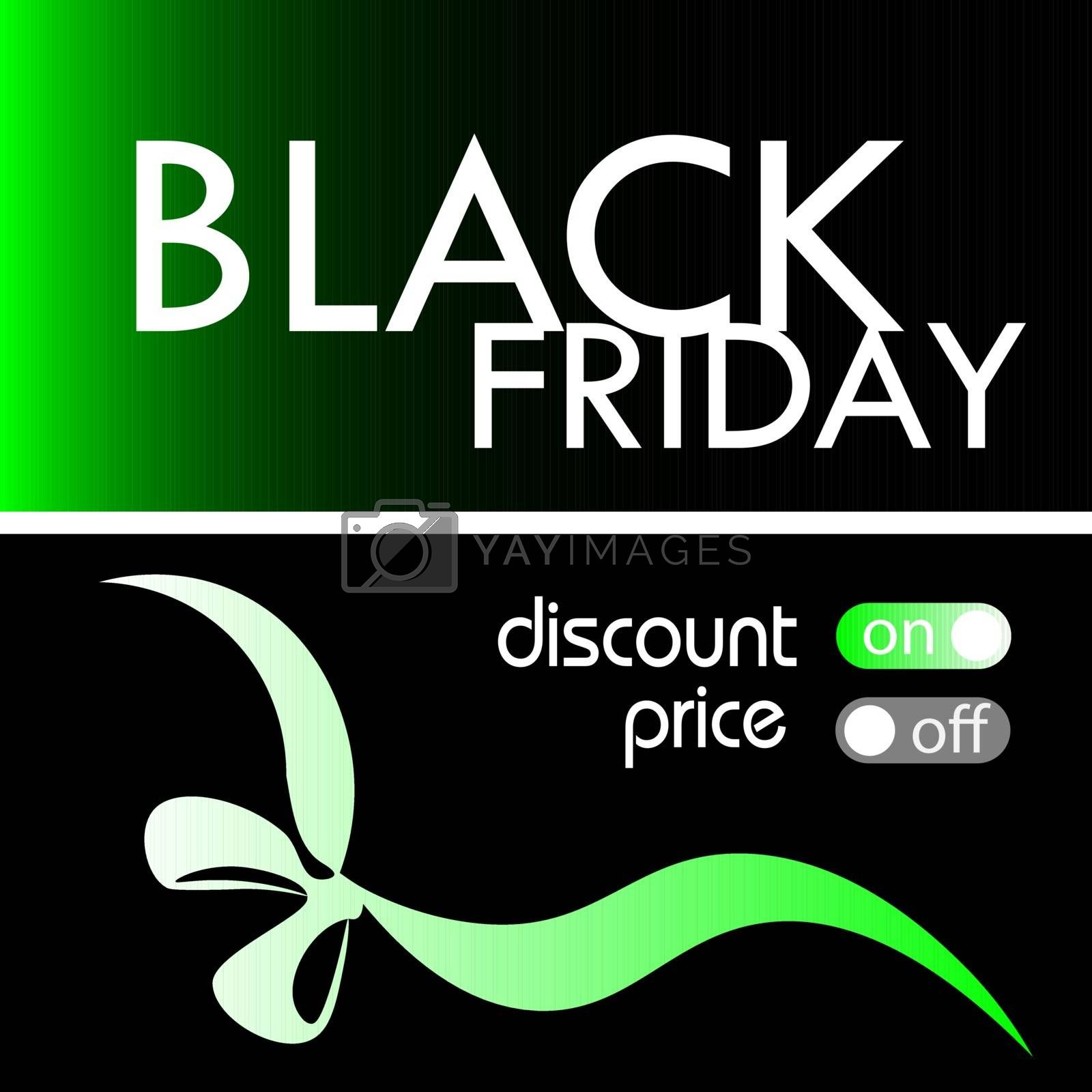 Black friday card, flyer or banner with tumblers and gift ribbon on green and black gradient background