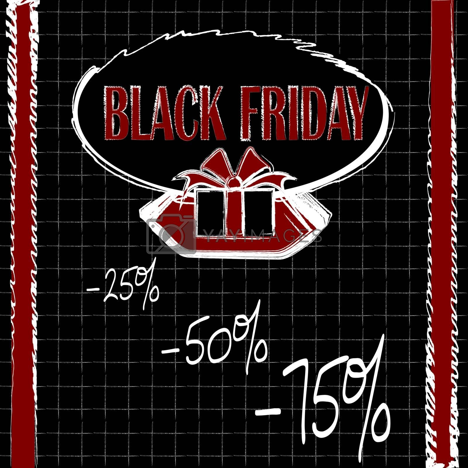 Chancellery black friday card, flyer or banner on notebook page background in black, white and red colors
