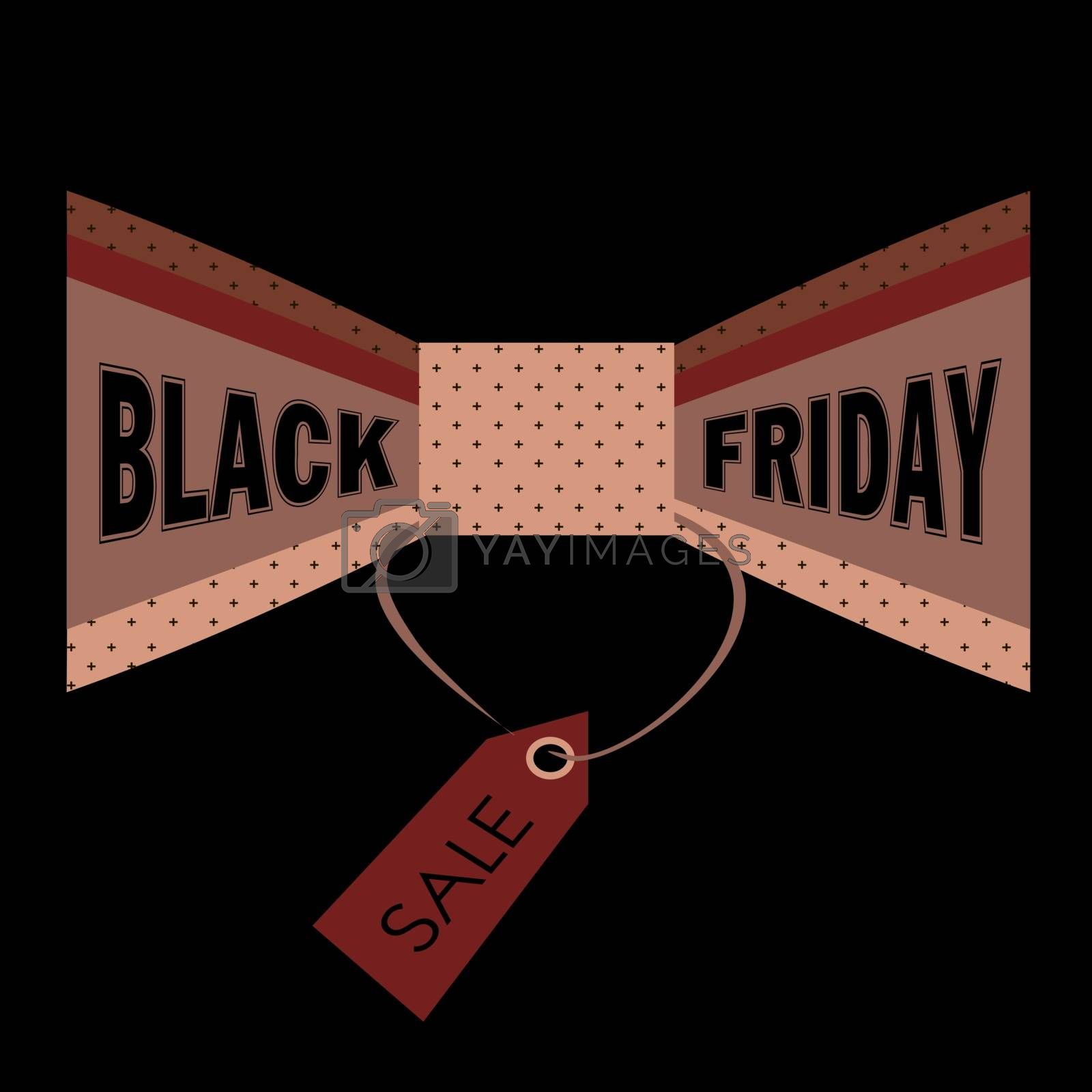 Illustration, card, flyer or banner with text `black friday` on the vintage bow tie