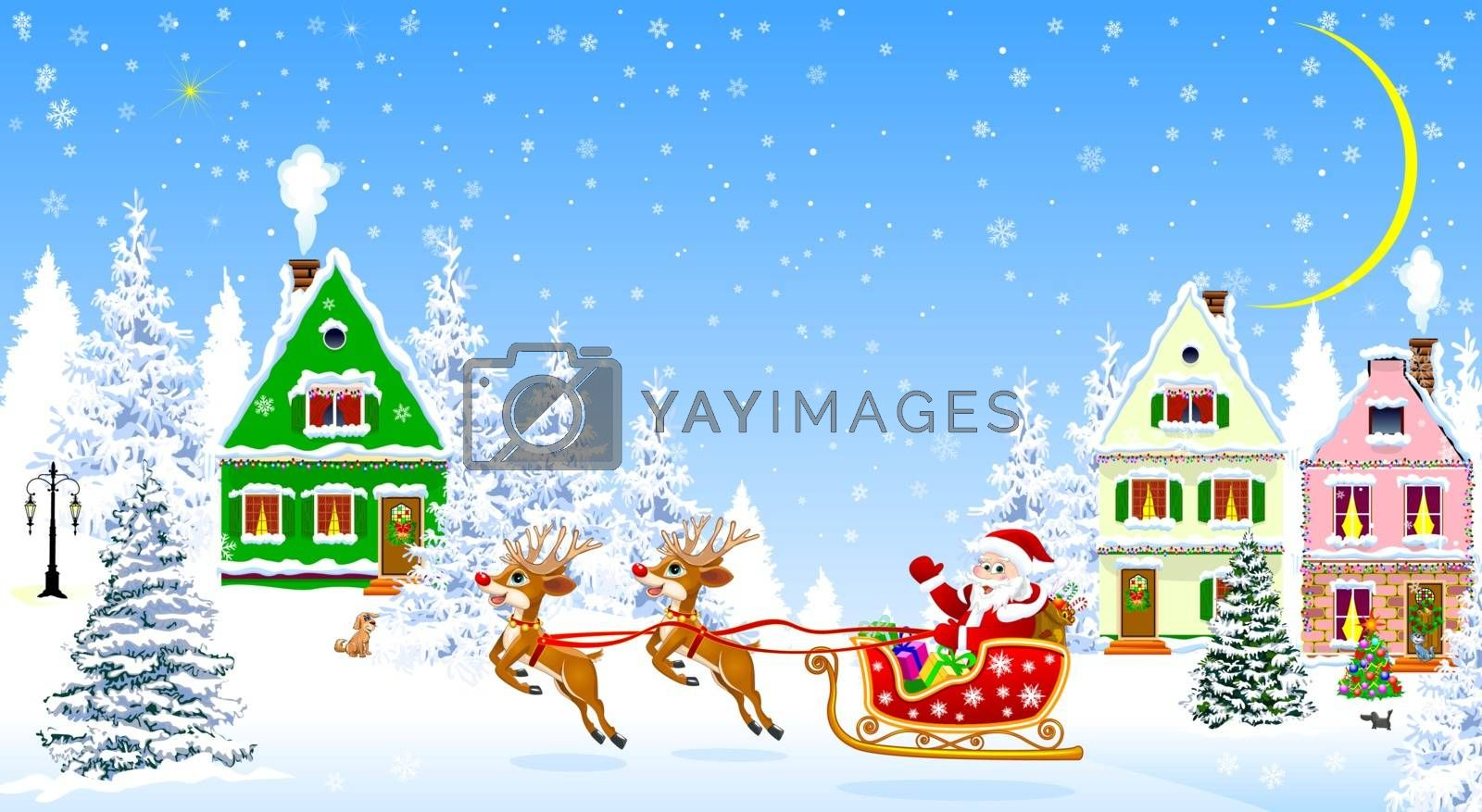 Santa Claus with presents on a sleigh. Houses, snow, snowy firs. Snowflakes. Winter night, the moon.