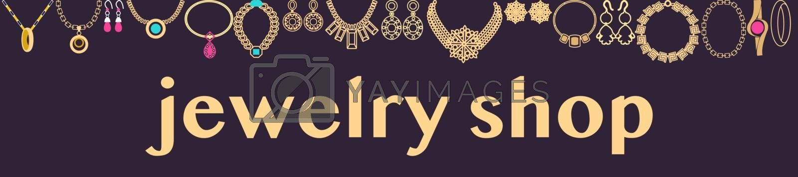 Vector Hand drawn Beautiful fashionable jewelry and accessories collection horizontal background. Jewels shop banner template.