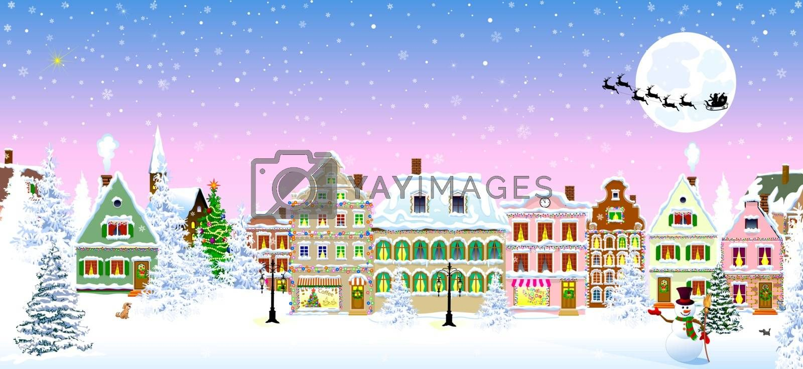 Houses, city, church, trees. Winter city landscape. Christmas Eve night. Snowflakes in the night sky. Silhouette of Santa Claus on a sleigh with deers on the background of the moon. Christmas winter night scene.