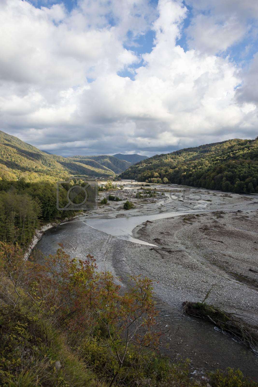 Shahe river and Caucasus mountains near Sochi, Russia. 2 November 2019.
