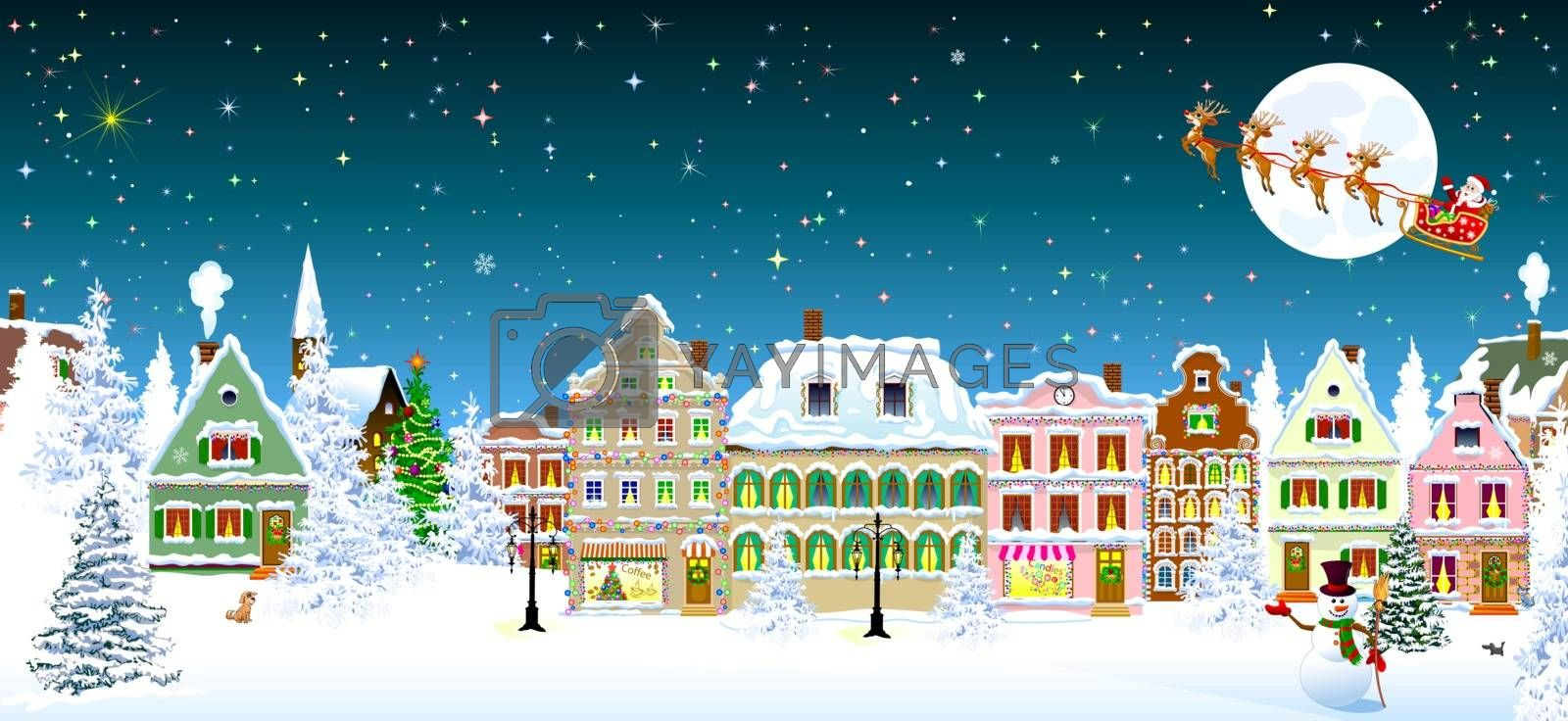 Houses, city, church, spruce. Winter city landscape. Christmas Eve night. Starry night sky. Santa Claus on a sleigh with deers on the background of the moon. Snowman.