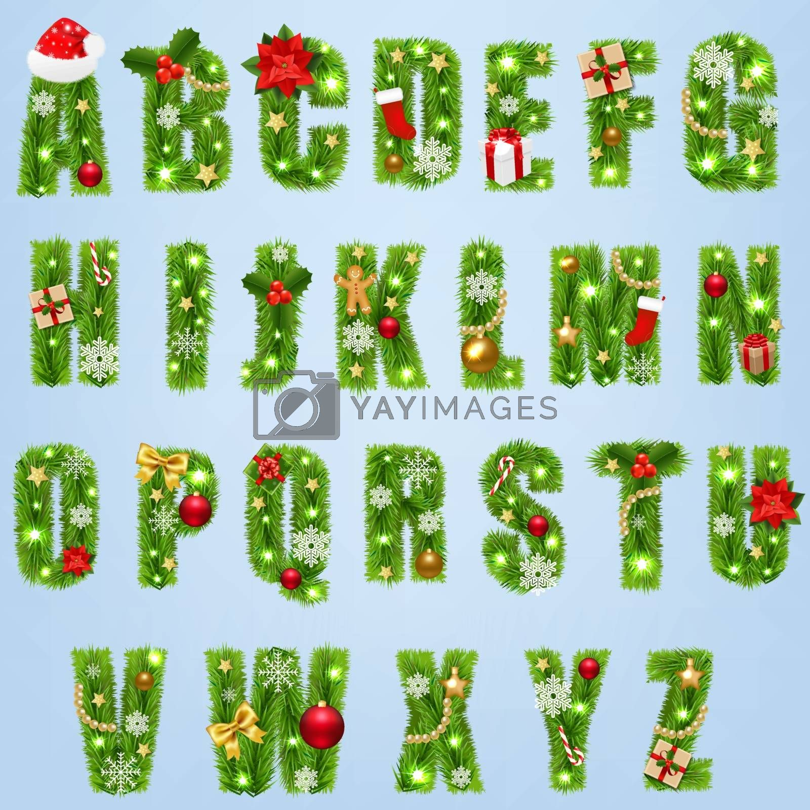 Christmas Alphabet With Christmas Toys Isolated Blue Background With Gradient Mesh, Vector Illustration