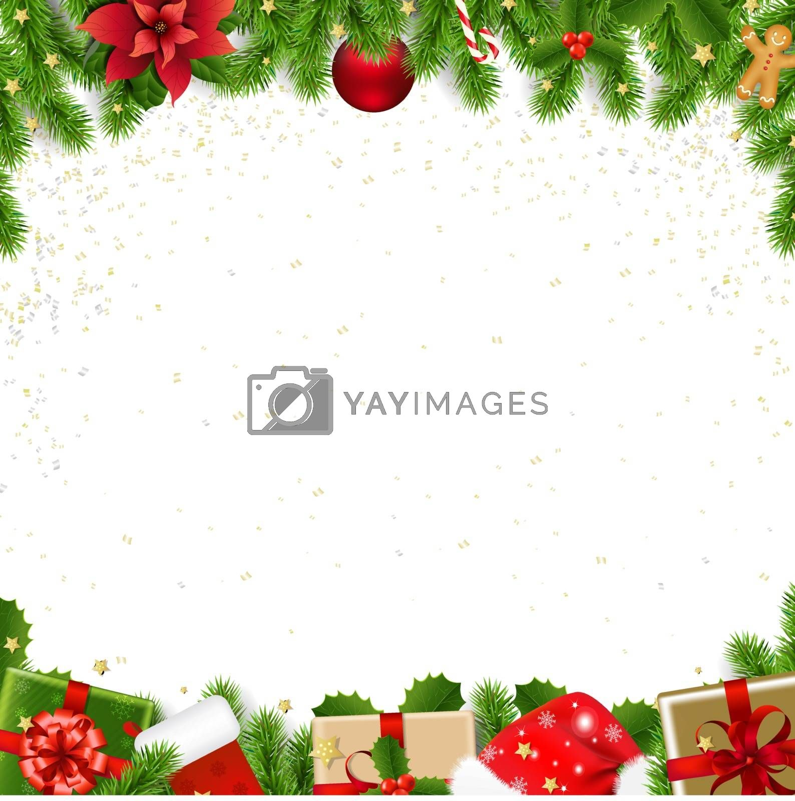 Christmas Border With Fir Tree White Background With Gradient Mesh, Vector Illustration