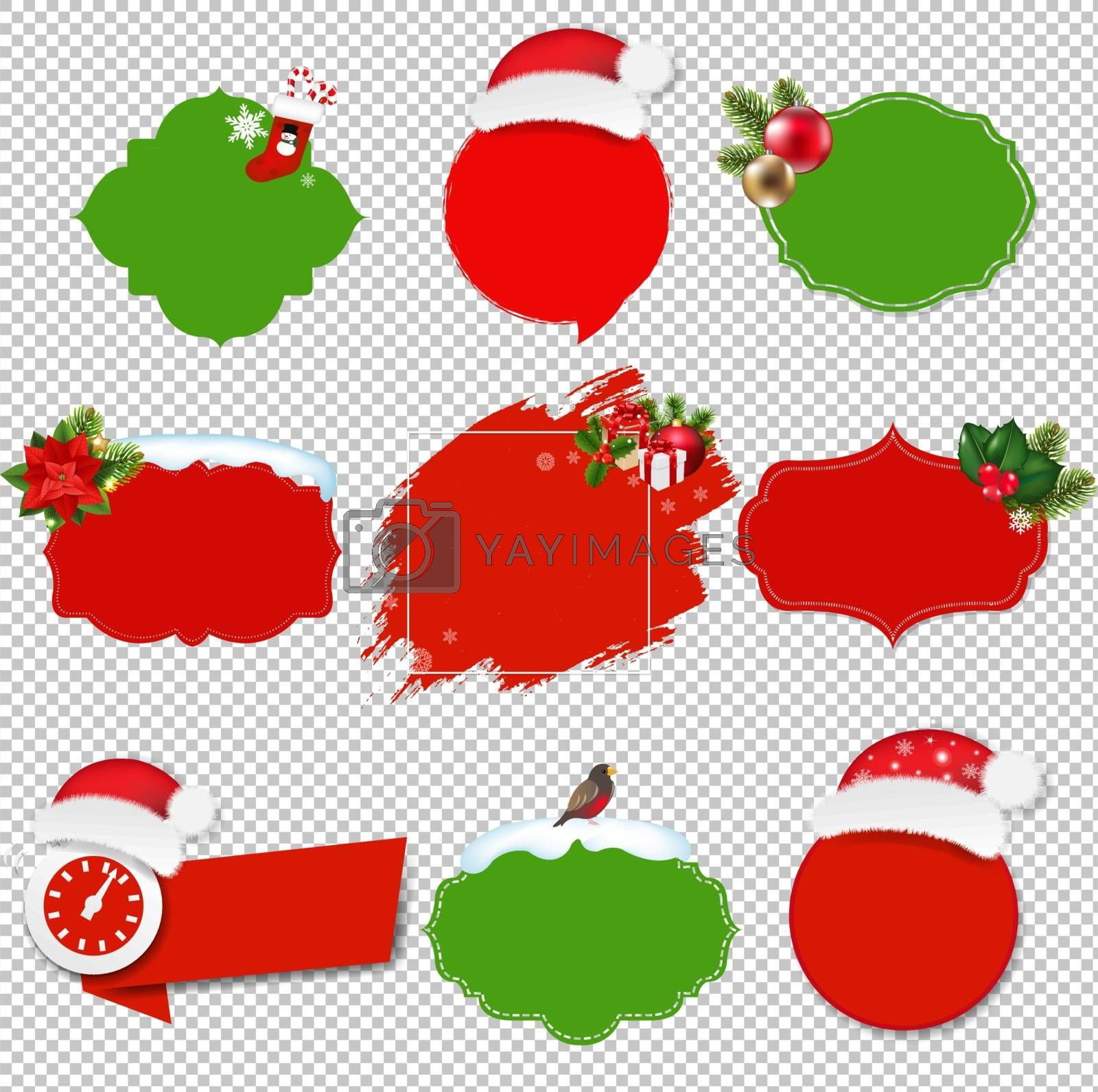Christmas Sale Labels Set Isolated Transparent Background With Gradient Mesh, Vector Illustration