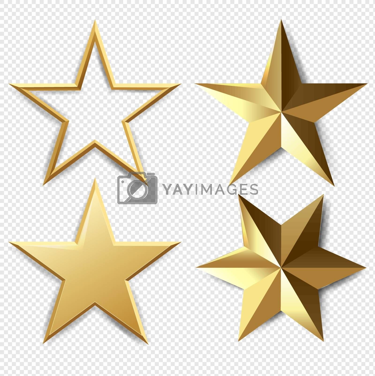 Golden Stars Set Isolated Transparent Background With Gradient Mesh, Vector Illustration
