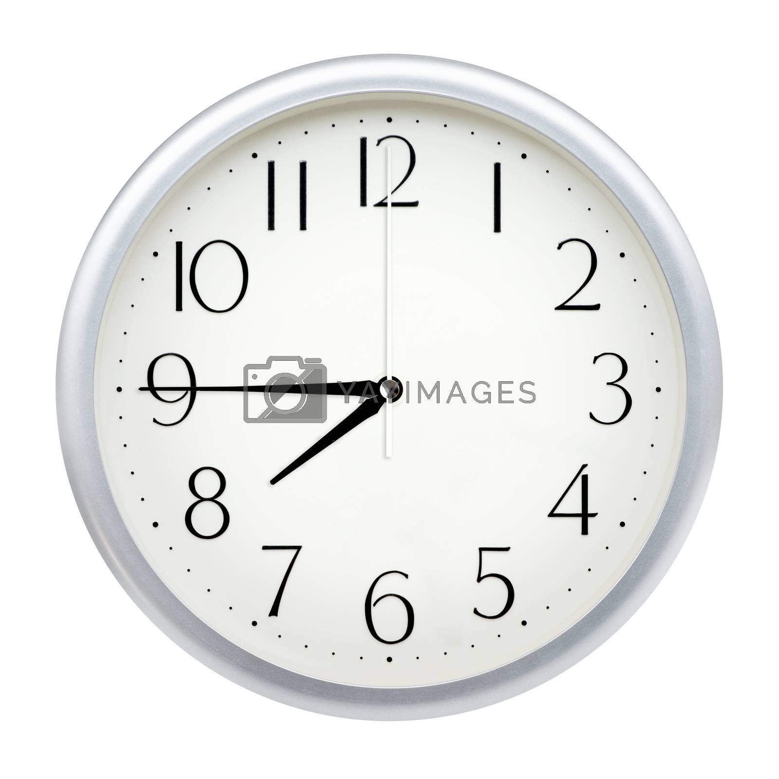 Analog wall clock isolated on white background.