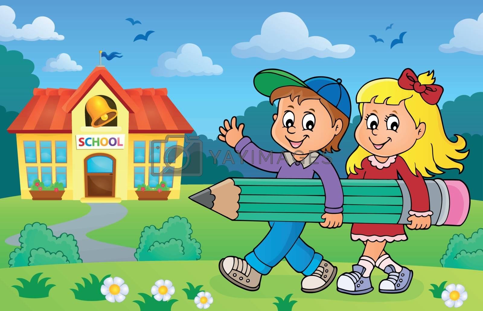 Children holding big pencil image 2 - eps10 vector illustration.
