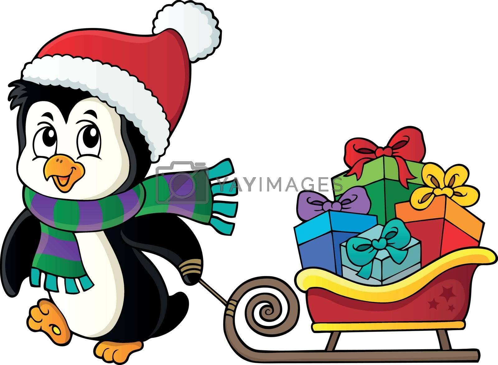 Christmas penguin with sledge image 3 - eps10 vector illustration.