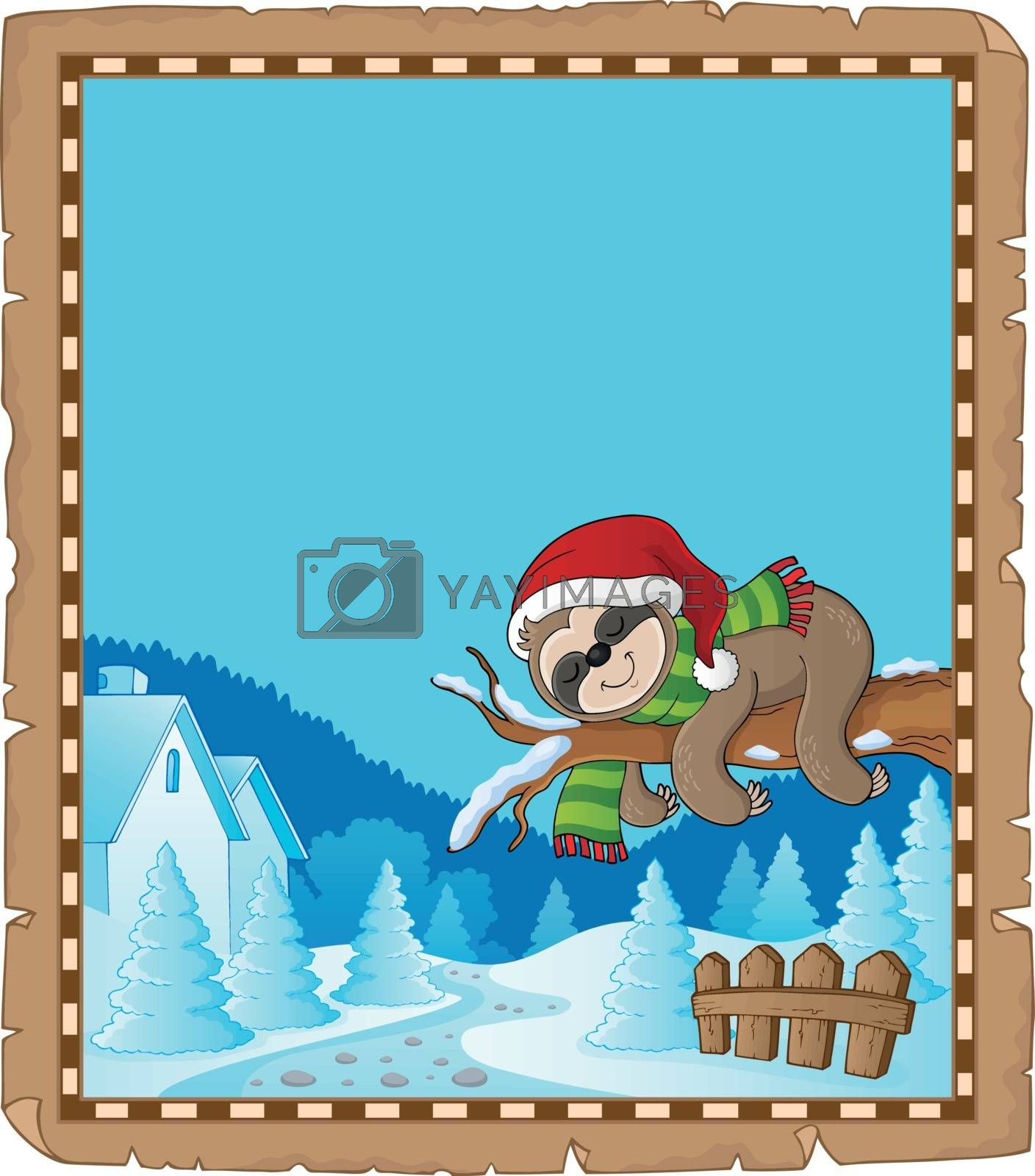 Christmas sloth theme parchment 1 - eps10 vector illustration.