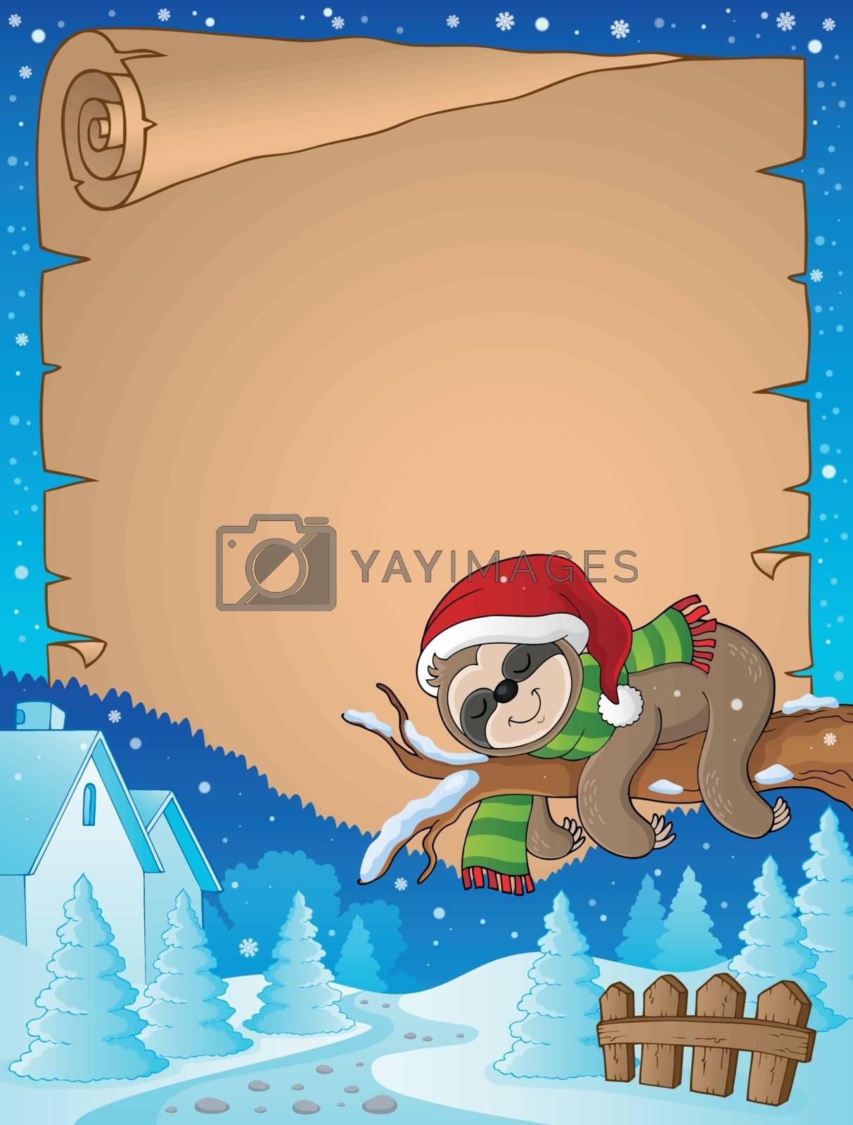 Christmas sloth theme parchment 2 - eps10 vector illustration.
