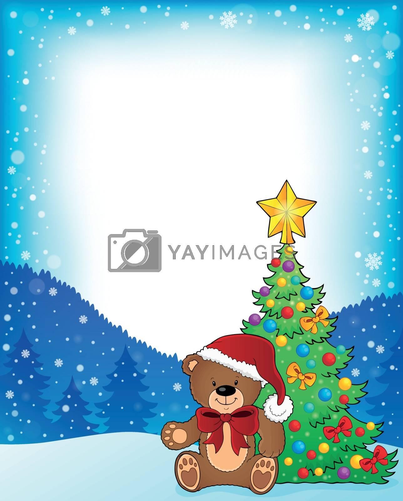 Christmas teddy bear topic frame 1 - eps10 vector illustration.