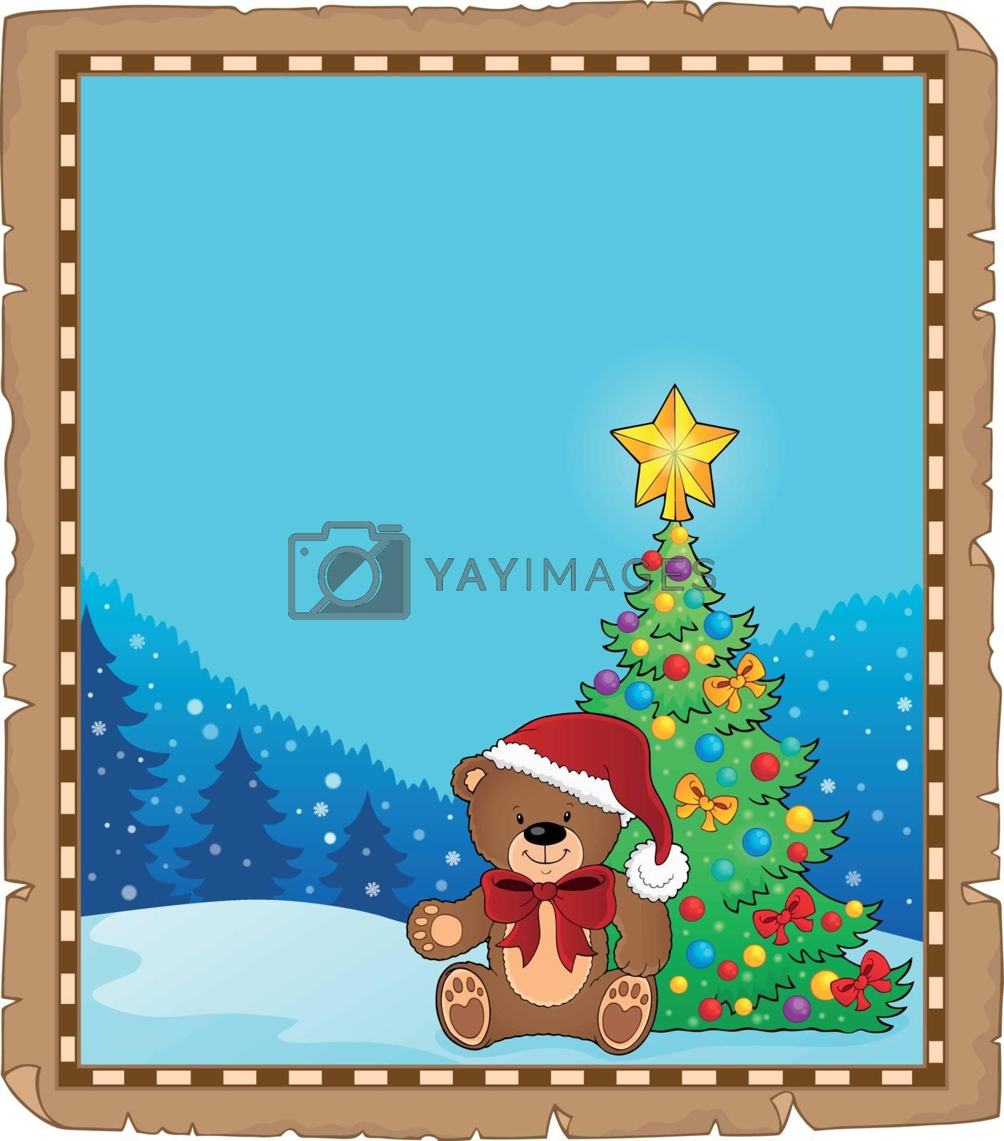Christmas teddy bear topic parchment 1 - eps10 vector illustration.