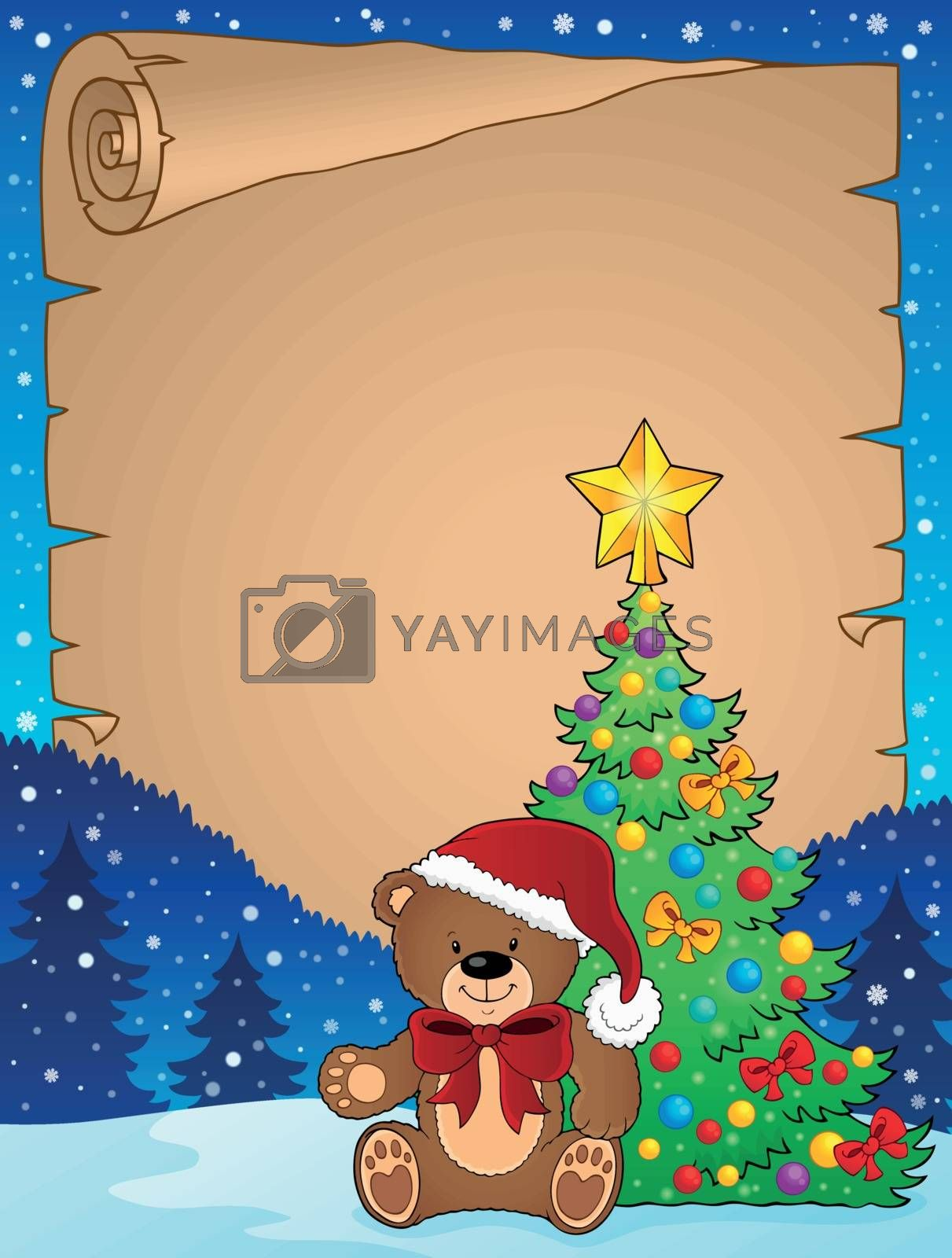 Christmas teddy bear topic parchment 2 - eps10 vector illustration.