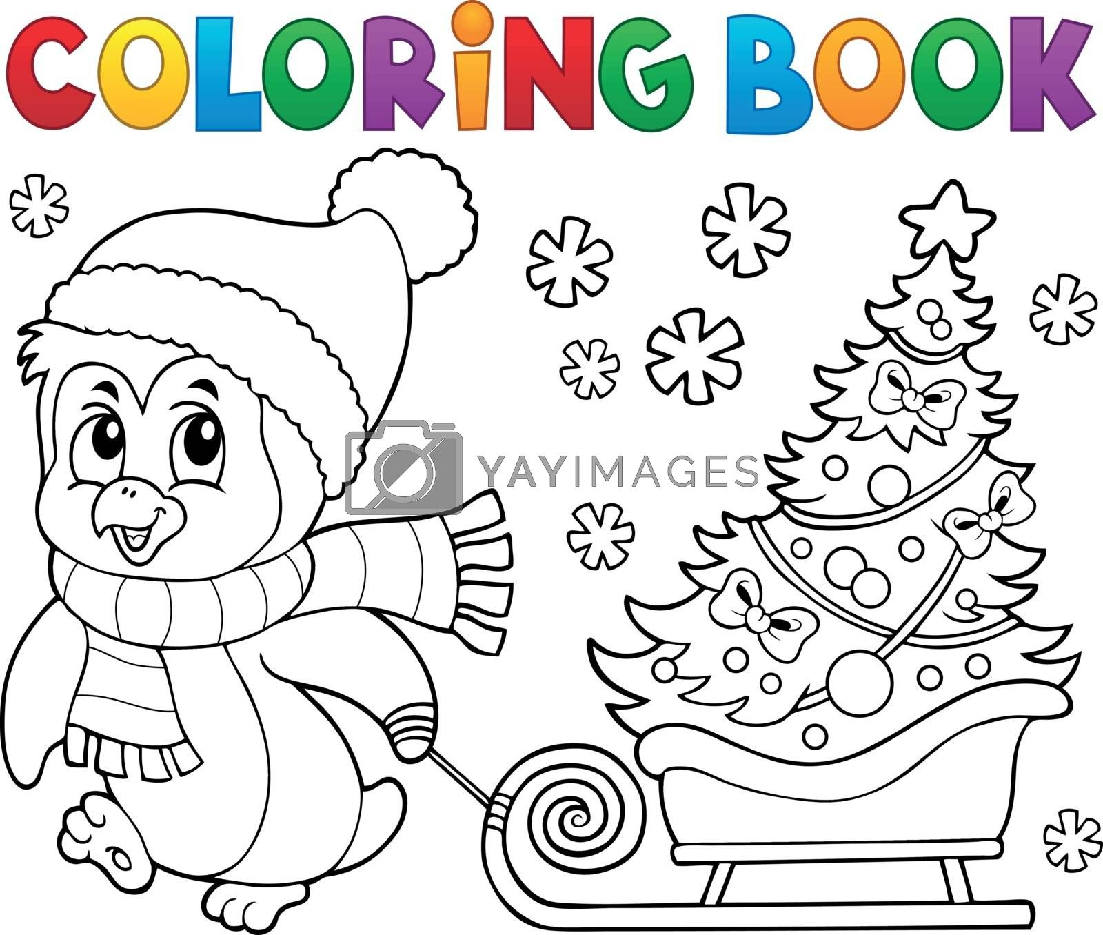 Coloring book Christmas penguin topic 7 - eps10 vector illustration.
