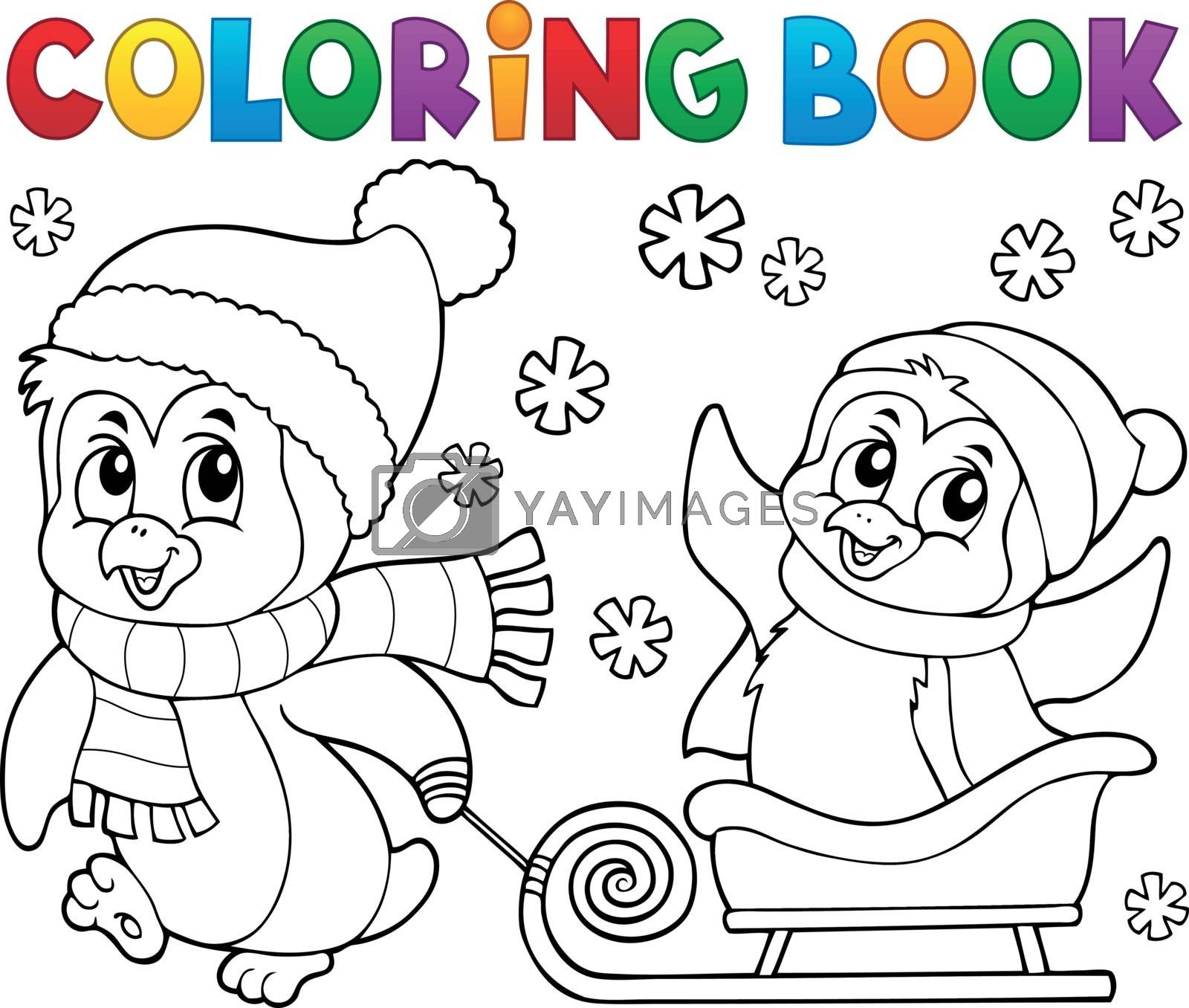 Coloring book Christmas penguin topic 8 - eps10 vector illustration.