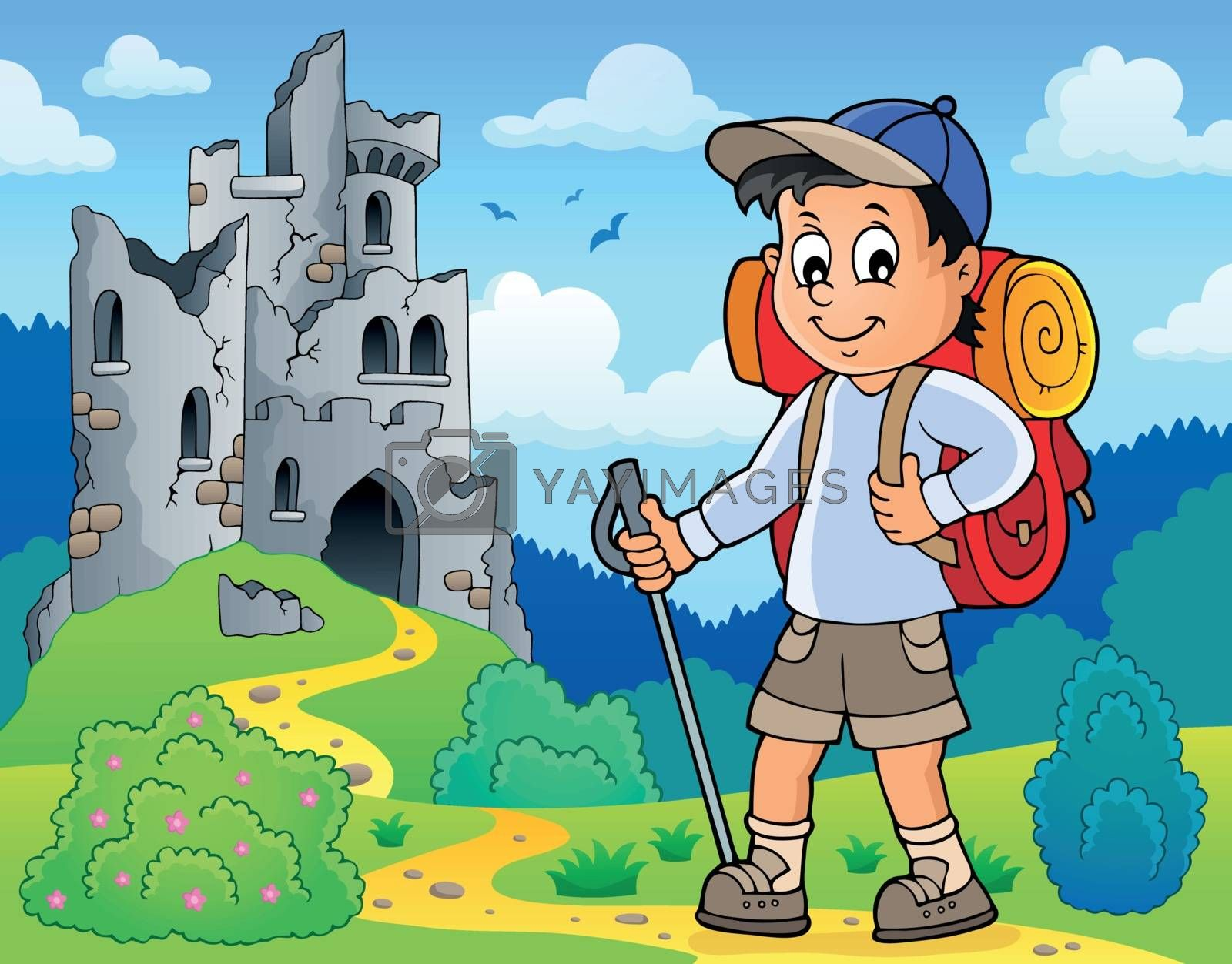 Image with hiker boy topic 3 - eps10 vector illustration.