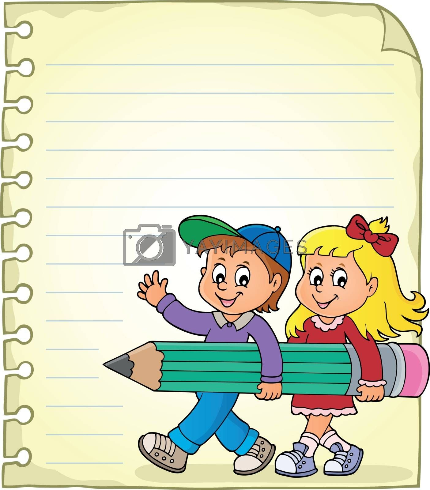 Notepad page with children and pencil - eps10 vector illustration.