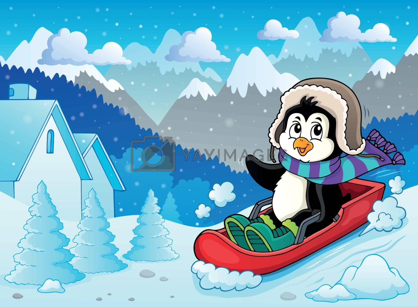 Penguin on bobsleigh theme image 2 - eps10 vector illustration.