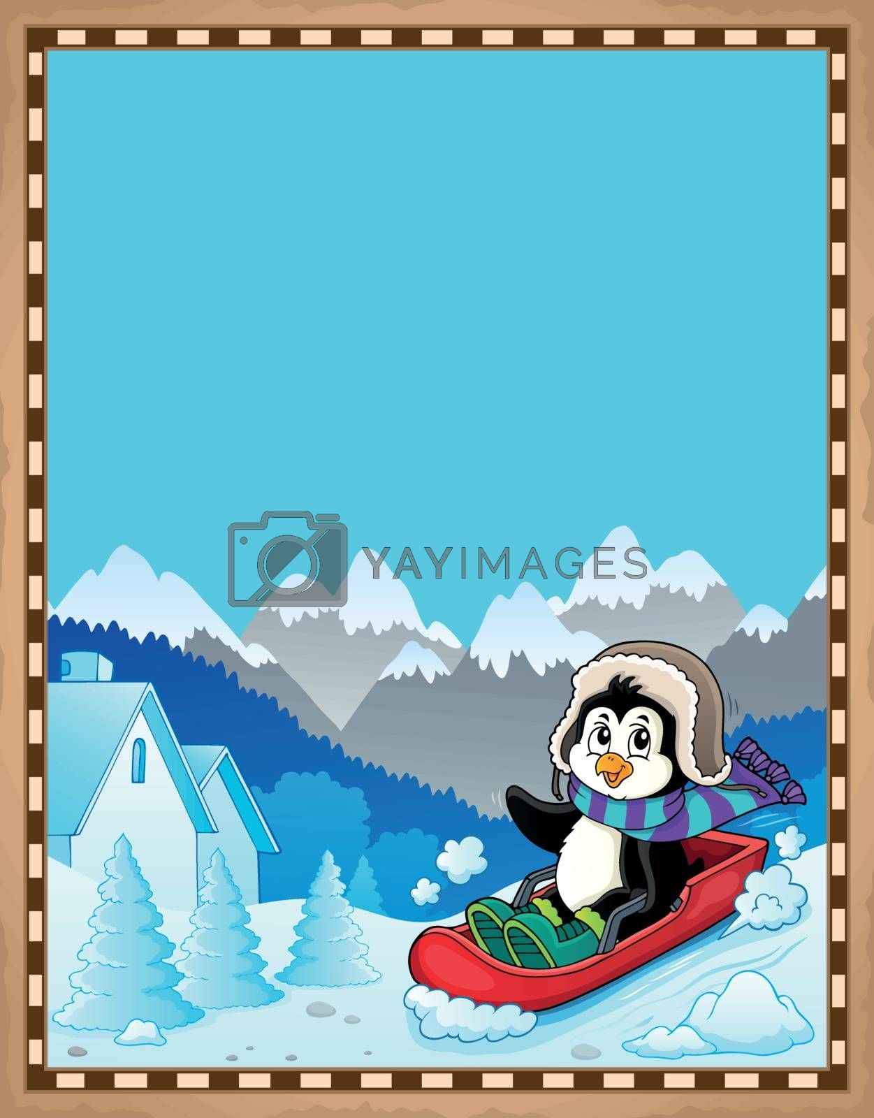 Penguin on bobsleigh theme parchment 1 - eps10 vector illustration.