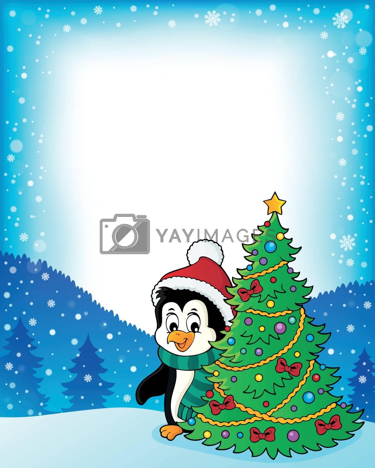 Penguin with Christmas tree frame 1 - eps10 vector illustration.