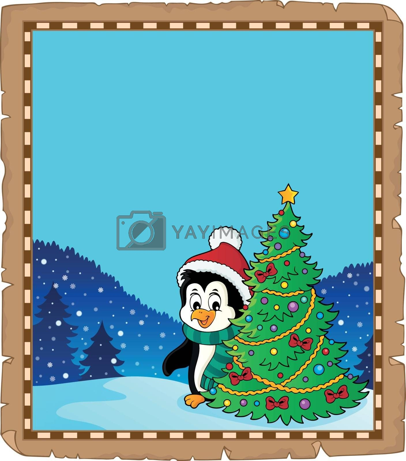 Penguin with Christmas tree parchment 2 - eps10 vector illustration.