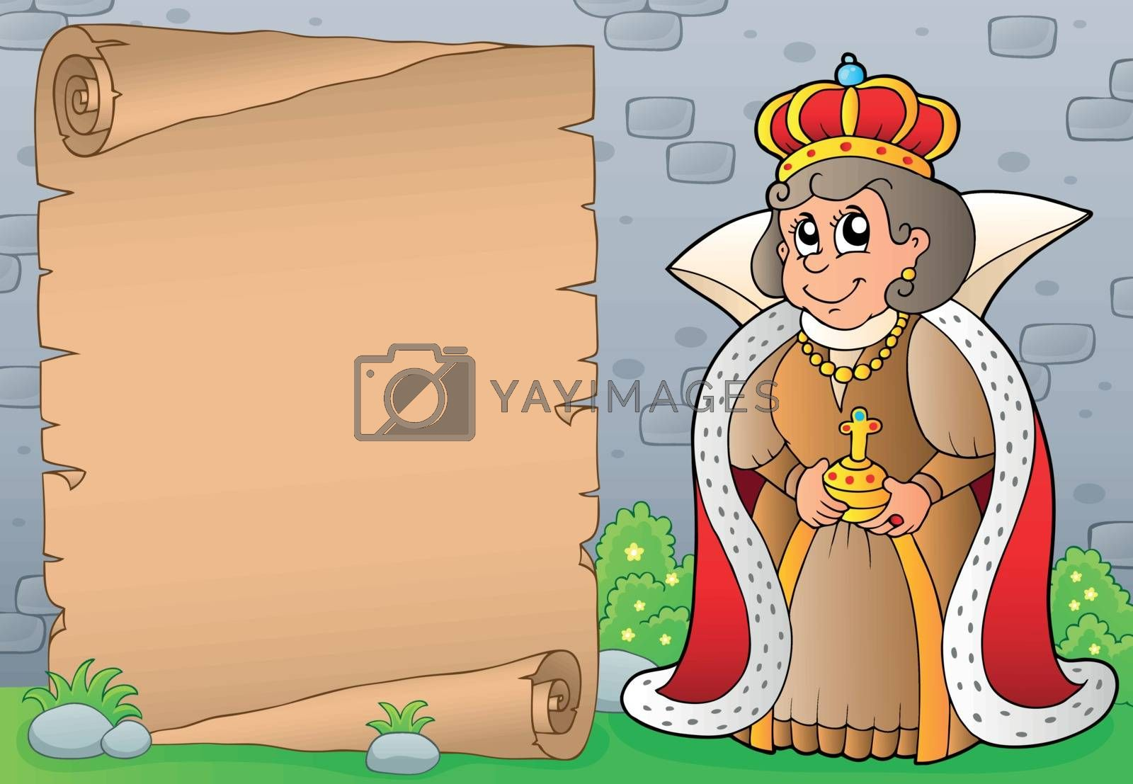 Queen topic parchment 1 - eps10 vector illustration.