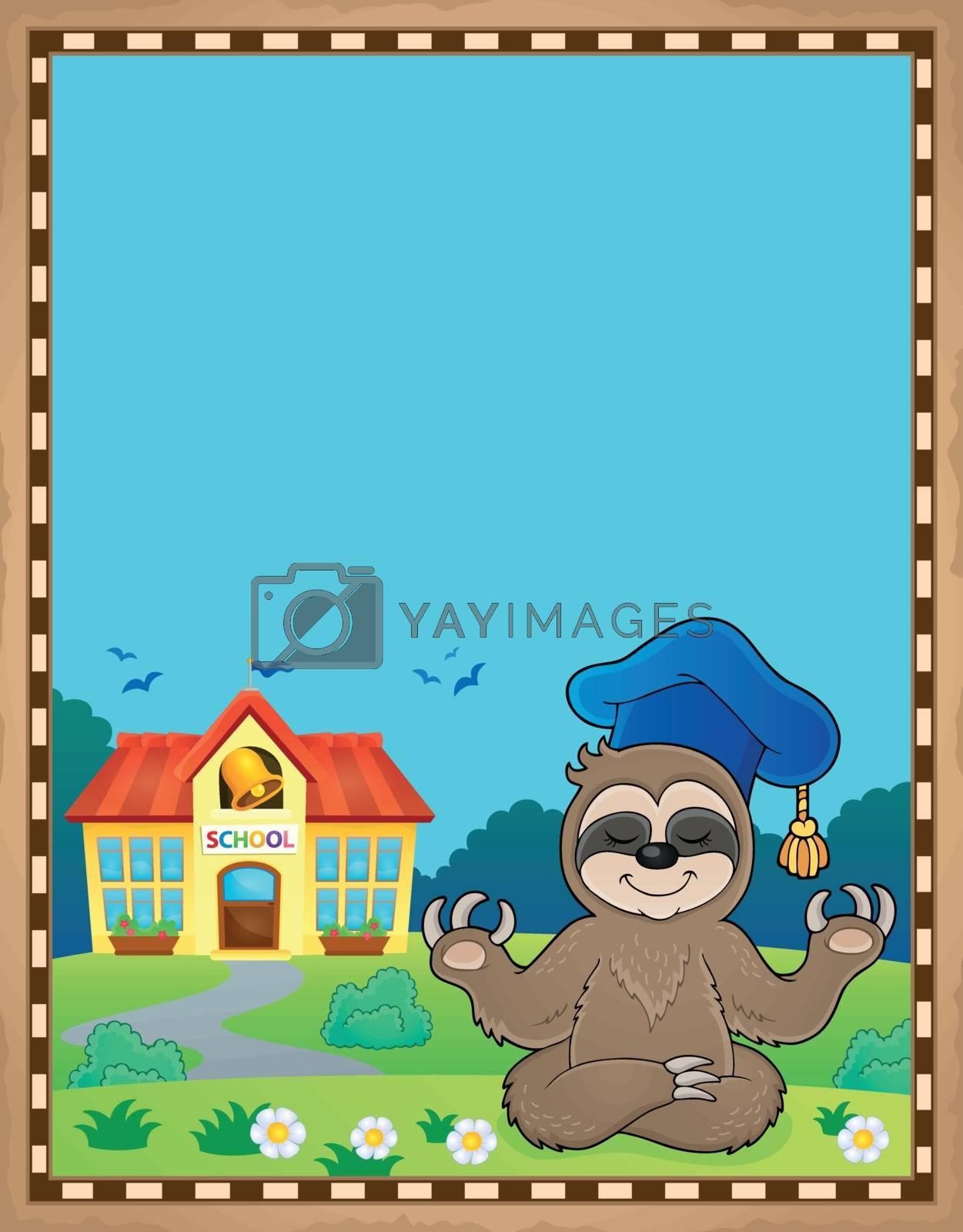 Sloth teacher theme parchment 1 - eps10 vector illustration.