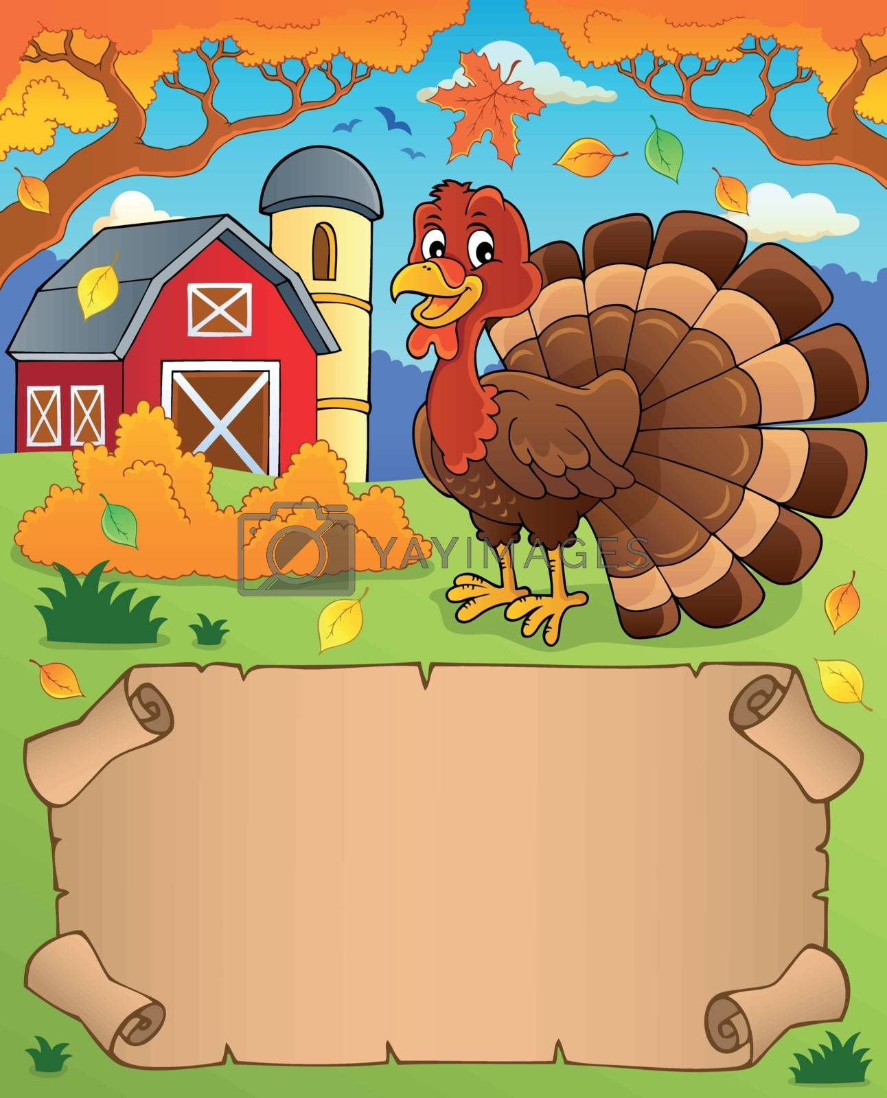 Small parchment and turkey bird 4 - eps10 vector illustration.