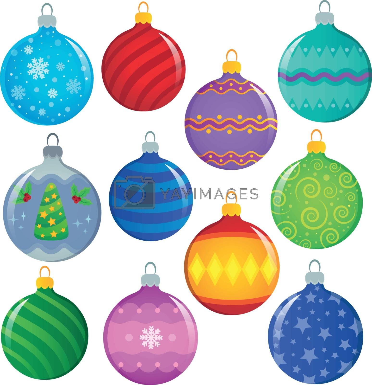 Stylized Christmas ornaments theme set 1 - eps10 vector illustration.