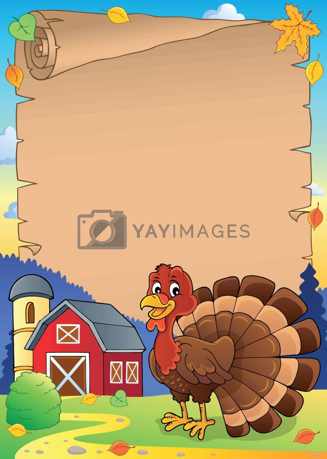 Turkey bird theme parchment 1 - eps10 vector illustration.