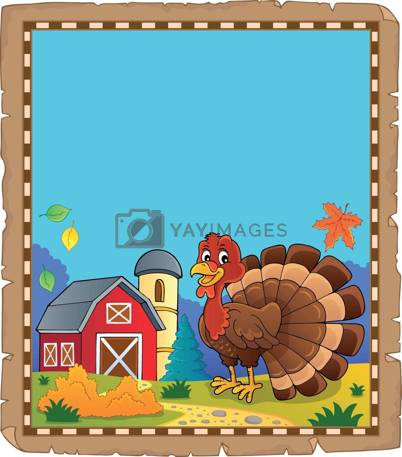Turkey bird theme parchment 2 - eps10 vector illustration.