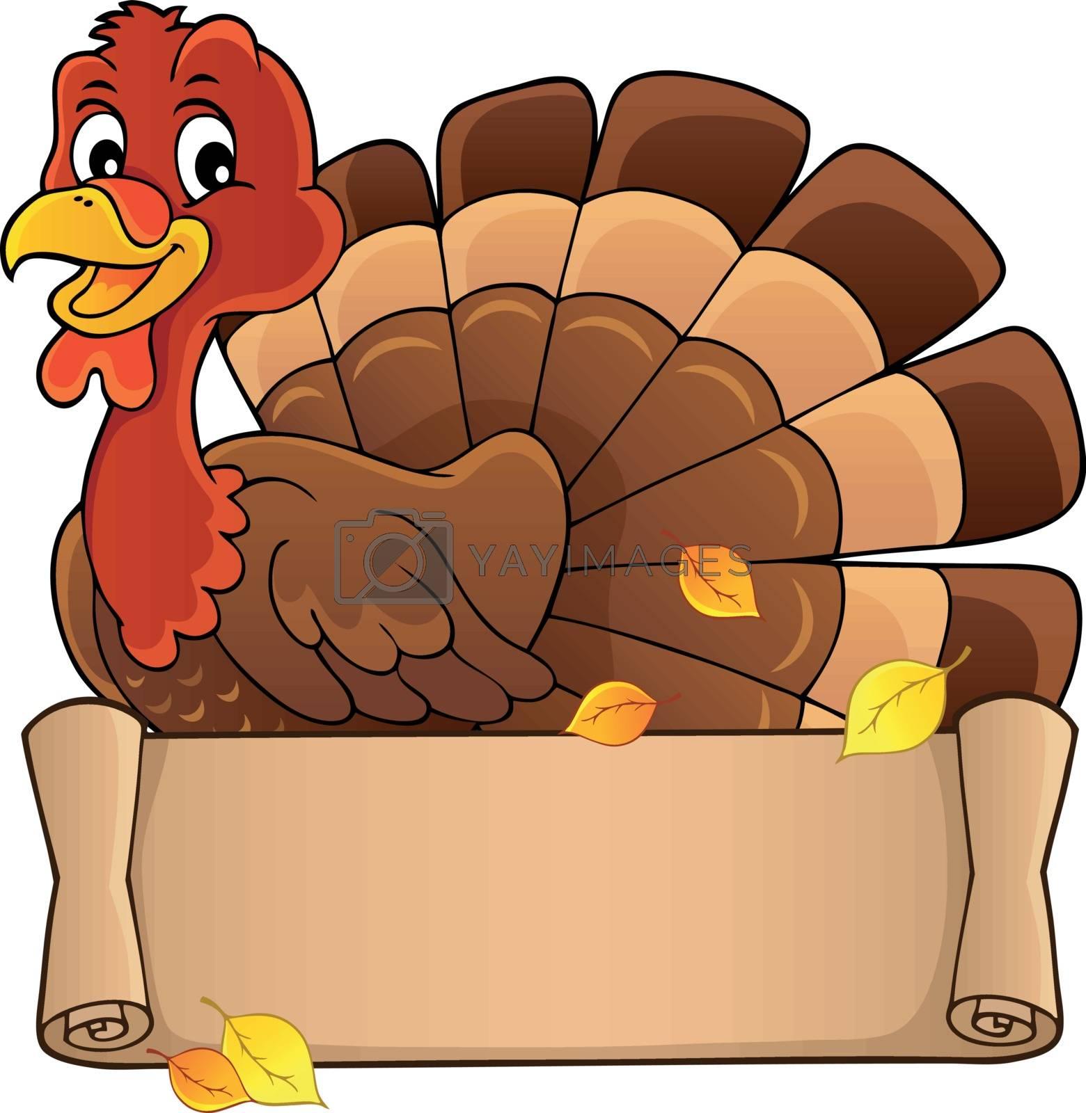 Turkey bird with banner theme 1 - eps10 vector illustration.