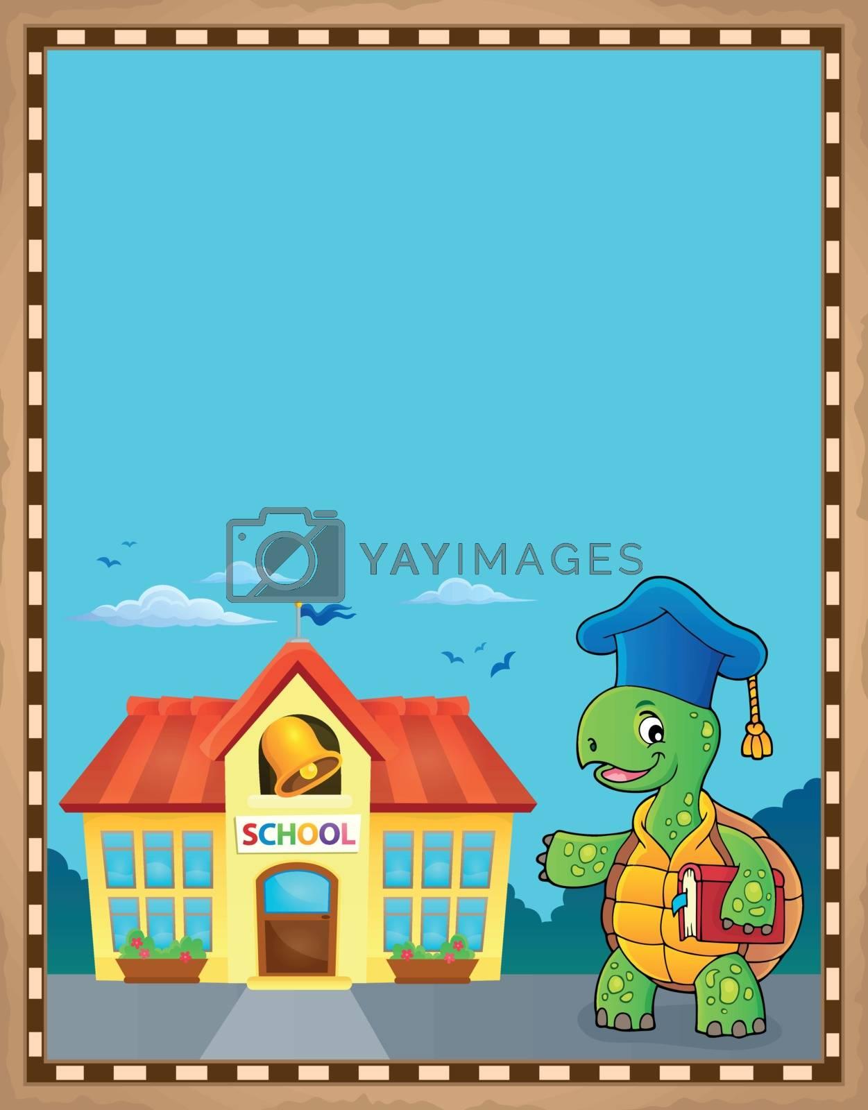 Turtle teacher theme parchment 2 - eps10 vector illustration.