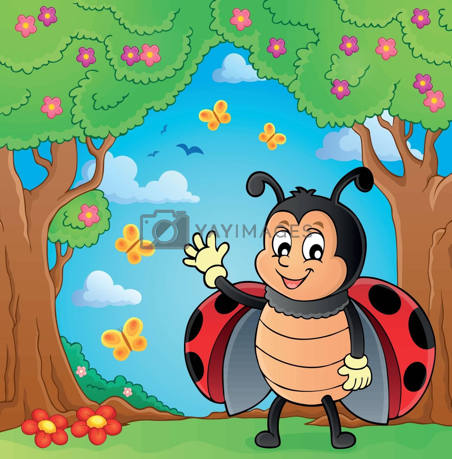 Waving ladybug theme image 4 - eps10 vector illustration.