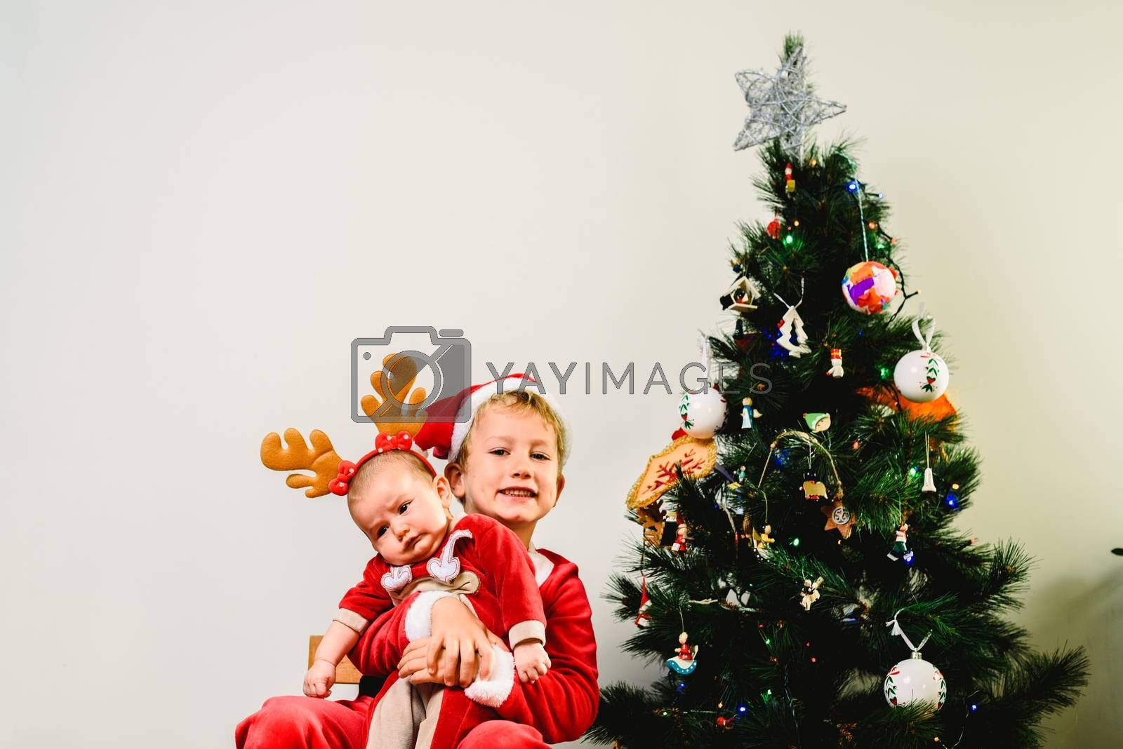 Toddler and newborn baby, siblings disguised as christmas, holid by Joaquin Corbalan