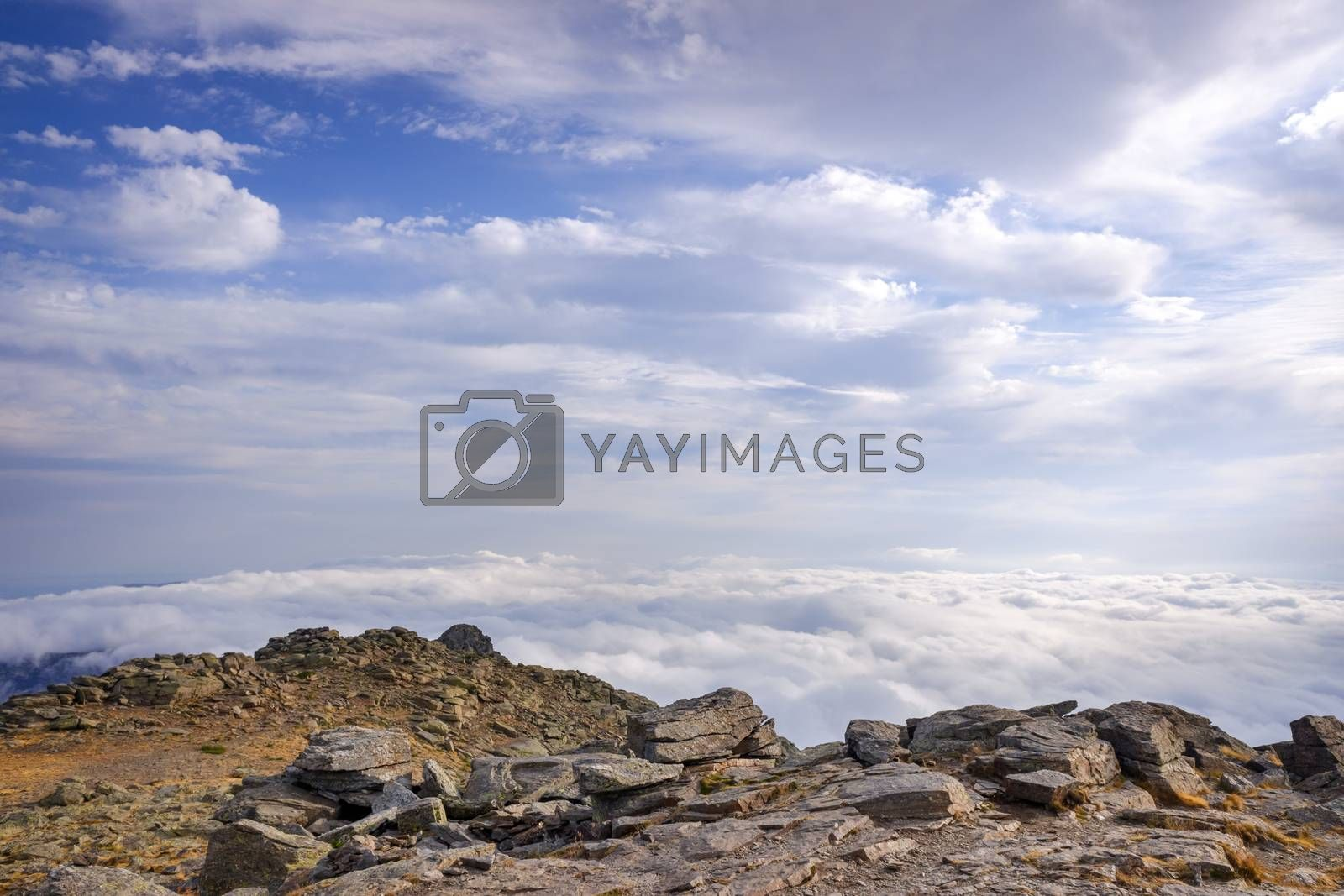 Mountain landscape with autumn clouds.