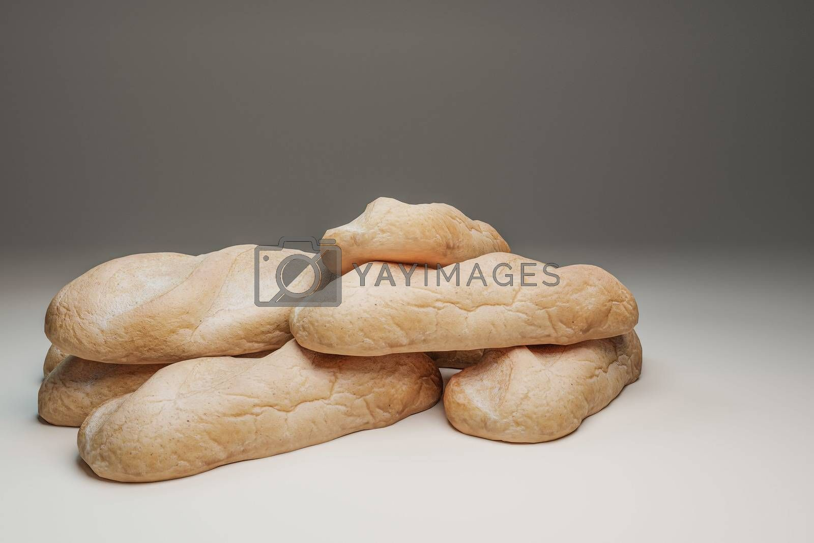 bread isolated on white background 3d illustration