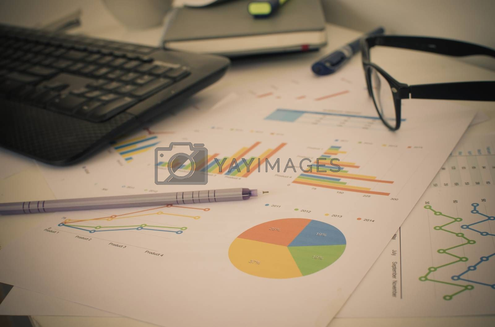 Business finance, accounting, statistics and analytic research concept.filter vintage