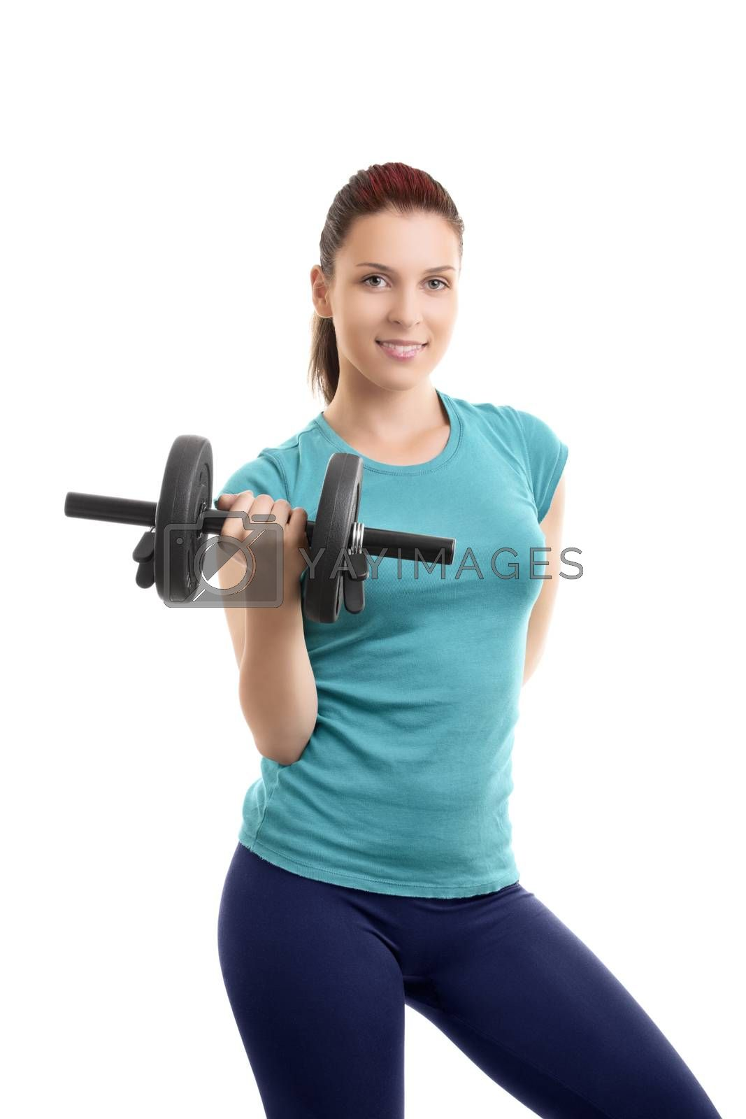 Beautiful fit girl lifting a dumbbell by Mendelex