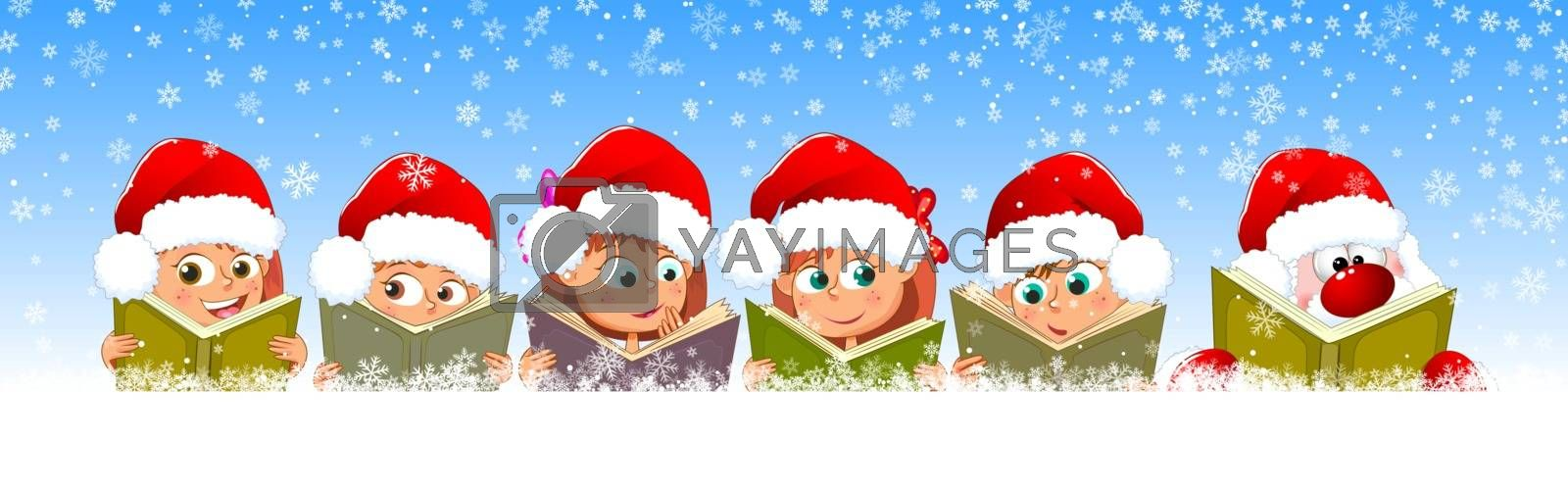 Little children read books. Children and Santa with books on a background of snow and snowflakes.